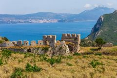 View on Navarino bay from frotress Paleokastro. View on Navarino bay and Pylos from medieval frotress Paleokastro royalty free stock photo