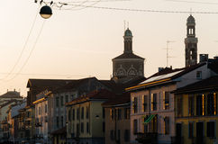 View of Naviglio Grande street at sunset Stock Photos