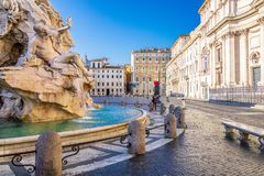 View of Navona Square, Piazza Navona, in Rome, Italy. View of Navona Square, Piazza Navona in Rome, Italy. Rome architecture and landmark. Piazza Navona is one royalty free stock images