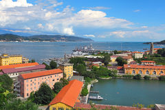 View of navy base in La Spezia, Italy. Stock Images