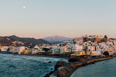 View of the Naxos town from the Tempe of Apollo, Naxos, Greece. Blue hour at Naxos island in Greece Royalty Free Stock Photo