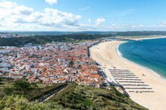 View of Nazare and the beach (Portugal) Royalty Free Stock Image