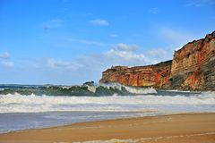 View of Nazare lighthouse on cliffs royalty free stock photos