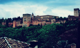 View of the Nazaries palaces of Alhambra.  Granada. Spain Royalty Free Stock Images