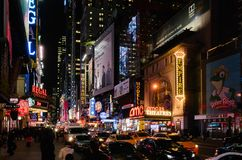 View of 42nd Street at night, in Manhattan, near Time Square stock photography