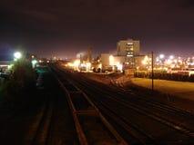 2005 View of NE Columbia Blvd Train Yard. Shows night view of NE Portland train yard in Portland, OR in 2005 Stock Image