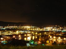 2005 View of NE Portand Industrial Area St Johns. Shows night view of NE industrial area in Portland, OR in 2005 near St. Johns Bridge Stock Photography