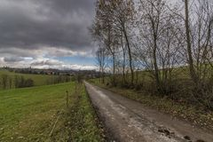 View near Horni Studenky village in Zabreh area. In autumn day Royalty Free Stock Photo