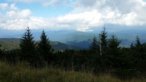 View near the summit on Old Mitchell Trail in Mt Mitchell state Park near Marion NC. View near the summit on Old Mitchell trail in Mt. Mitchell State Park near Royalty Free Stock Photography