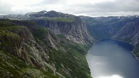 View near Trolltunga to Fjord and water from drone on air Norway. The view from the drone Mavic near Trollitunga fjord in Norway stock footage
