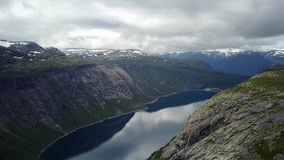 View near Trolltunga to Fjord and water from drone on air Norway. The view from the drone Mavic near Trollitunga fjord in Norway stock video