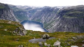 View near Trolltunga to Fjord and water. The view near Trollitunga fjord in Norway stock video