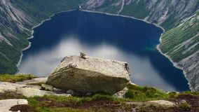 View near Trolltunga to Fjord and water. The view near Trollitunga fjord in Norway stock footage