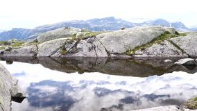View near Trolltunga to Fjord and water. The view near Trollitunga fjord in Norway stock video footage