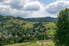 View from the magic garden tower in Muszyna Stock Images
