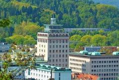 Neboticnik - skyscraper building in Ljubljana, Slovenia. View of the Neboticnik skyscraper building in Ljubljana, Slovenia royalty free stock photo