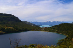 A view of Negro and General Carrera Lakes, Chilean Patagonia Stock Photo