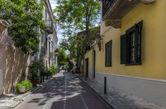 View of a neighborhhod in Plaka, historic center of Athens city royalty free stock photo