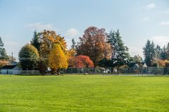 Autumn In The Neighborhood 6. A view of a neighborhood in Burien, Washington in Autumn stock image