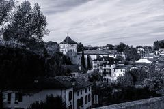 View of a village district black and white version royalty free stock images