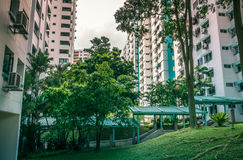 View of neighbourhood compound in a residential housing apartment in Bukit Panjang. View of neighbourhood compound and its vicinity within the high-rise public Stock Image