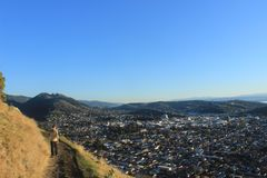 View of Nelson New Zealand. Walkway on a hill outside of Nelson, New Zealand. View of the whole city royalty free stock image