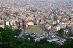 View of nepalese capital Kathmandu from Monkey temple,Nepal Stock Photo