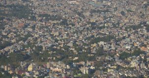 View of the Nepali city with a bird`s-eye view stock video