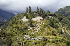 View of nepali village. With beautiful hill Stock Images