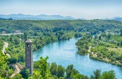 View on Neretva river in Pocitelj, Bosnia and Herzegovina Stock Photo