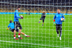 View through the net on goalkeepers Royalty Free Stock Image