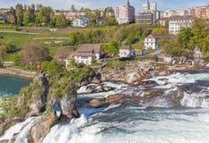 View in Neuhausen am Rheinfall. Neuhausen am Rheinfall, Switzerland - 17 April, 2014: the Rhine Falls. The Rhine Falls (German: Rheinfall) is the largest plain Stock Image
