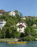 View in Neuhausen am Rheinfall. Neuhausen am Rheinfall, Switzerland - 10 May, 2015: view on the Rhine river just below the Rhine Falls. Neuhausen am Rheinfall is Royalty Free Stock Image
