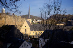 View on the Neumunster Abbey in the Old Town of Luxembourg Royalty Free Stock Photos