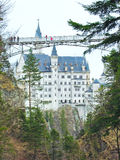 View of Neuschwanstein Castle and a bridge. In Germany stock images