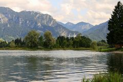 View of Neuschwanstein Castle from Forggensee Stock Images