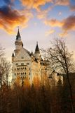 Neuschwanstein castle at sunrise,Germany. stock photography