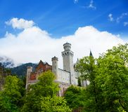 View of Neuschwanstein for forest Stock Images