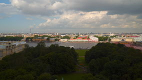 View of the Neva embankment from the colonnade of St. Isaac`s Cathedral stock video