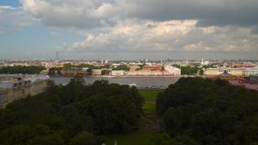 View of the Neva embankment from the colonnade of St. Isaac`s Cathedral Royalty Free Stock Images