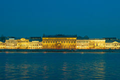 View of Neva and English embankment in St. Petersburg with night illumination Stock Photo