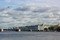 view of the neva, the hermitage, palace bridge Royalty Free Stock Photography