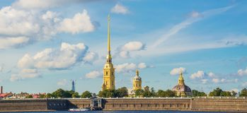 The Neva River in St. Petersburg. View of the Neva and the Peter and Paul Fortress in St. Petersburg Royalty Free Stock Image