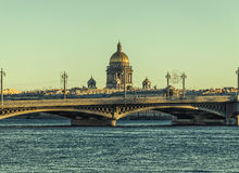 The view of the Neva river, Blagoveschensky bridge and the St. Isaac cathedral. Royalty Free Stock Photos