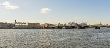 View from Neva river on Blagoveshchenskij (Annunciation) bridge Royalty Free Stock Photography