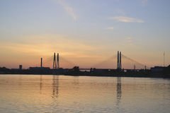 View of the Neva river and cable-stayed bridge Royalty Free Stock Images