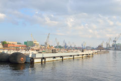 View of the Neva River and the Cargo Port. Stock Photo
