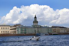 View of Neva River embankment Royalty Free Stock Image