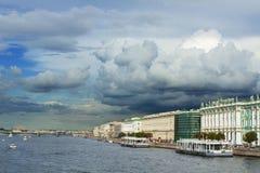 View of the Neva River embankment . Royalty Free Stock Photo