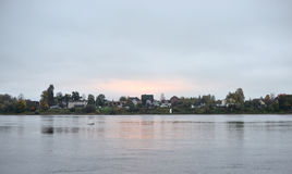 View of Neva river. View of Neva river at evening, outskirts of St.Petersburg, Russia Royalty Free Stock Photo